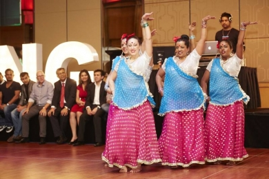Corporate Bollywood dancers show their moves
