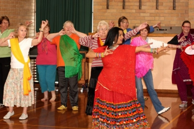 Seniors Bollywood with classical Indian hand gestures