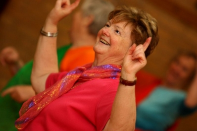 Seniors point to the sky in bollywood festival